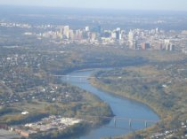Aerial view of Edmonton with the winding North Saskatchewan River